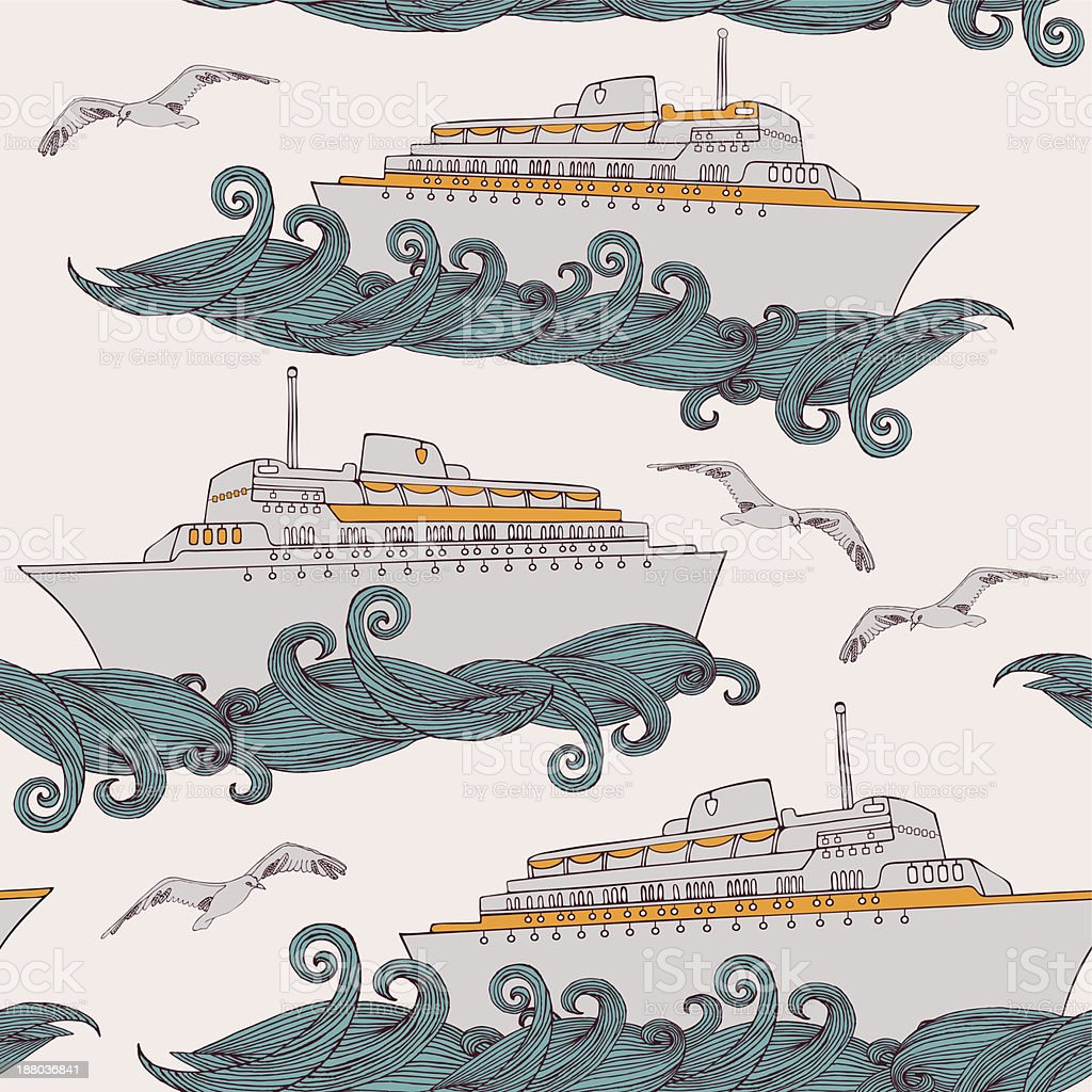 Seamless background with passenger cruise liner. vector art illustration