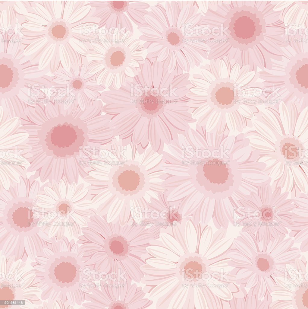 Seamless background with pink gerbera flowers. Vector illustration. royalty-free stock vector art