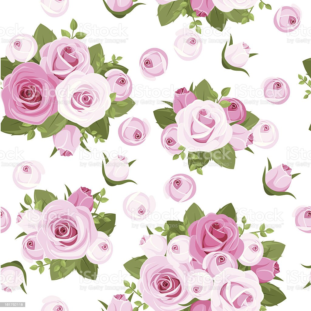 Seamless background with pink roses on white. Vector illustration. royalty-free stock vector art