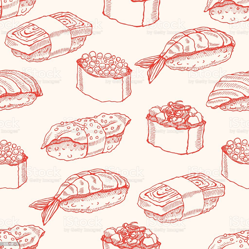 seamless background with sketch sushi vector art illustration