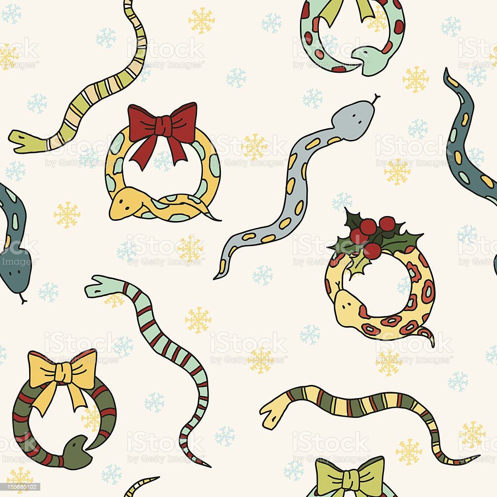 Seamless background with snakes, mistletoe and snowflakes for New Year royalty-free stock vector art