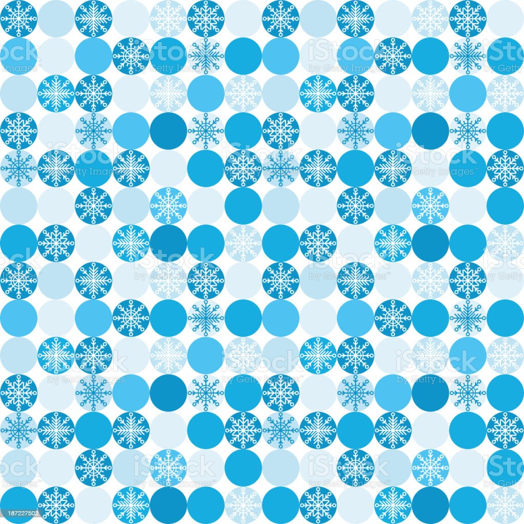 Seamless background with snowflakes in circles royalty-free stock vector art