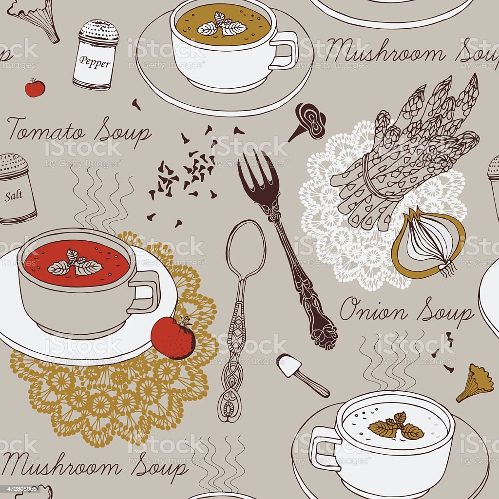 Seamless background with soup in ceramic bowl. vector art illustration