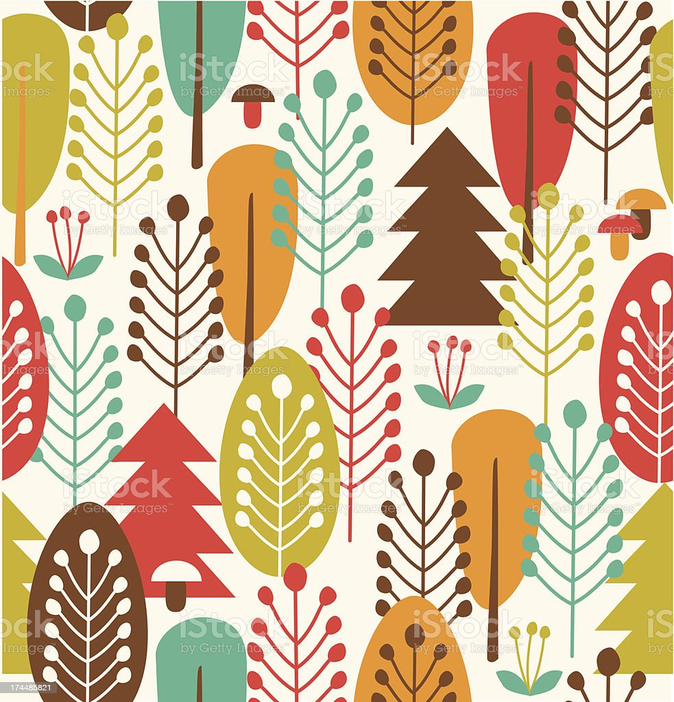 Seamless background with stylized trees vector art illustration