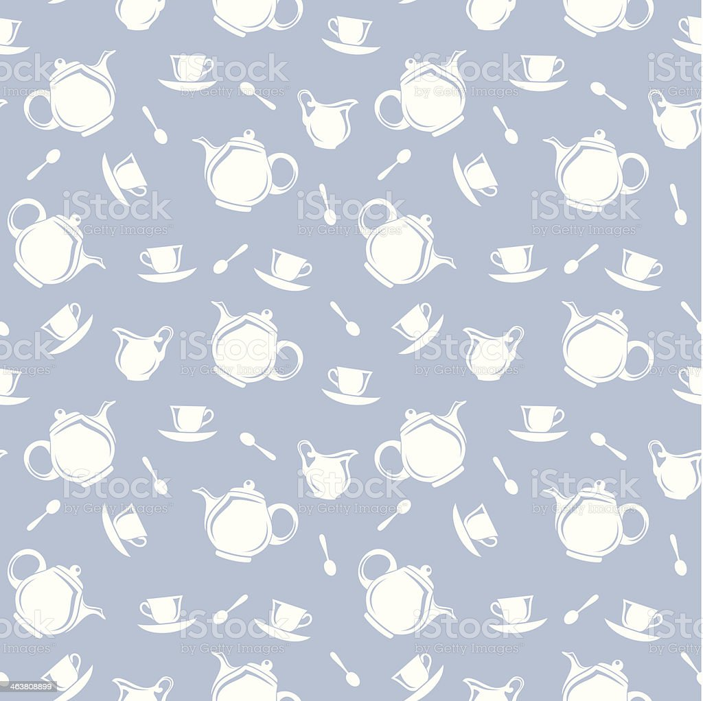 Seamless background with teapots and cups. Vector illustration. vector art illustration