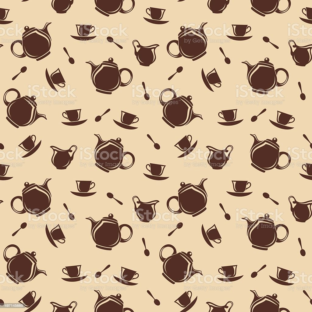 Seamless background with teapots and cups. Vector illustration. royalty-free stock vector art