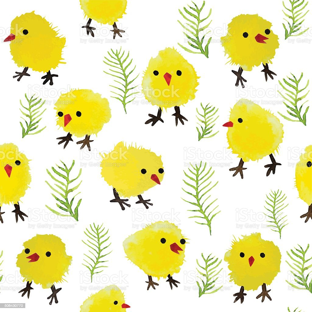 Seamless background with watercolor chickens and grass vector art illustration