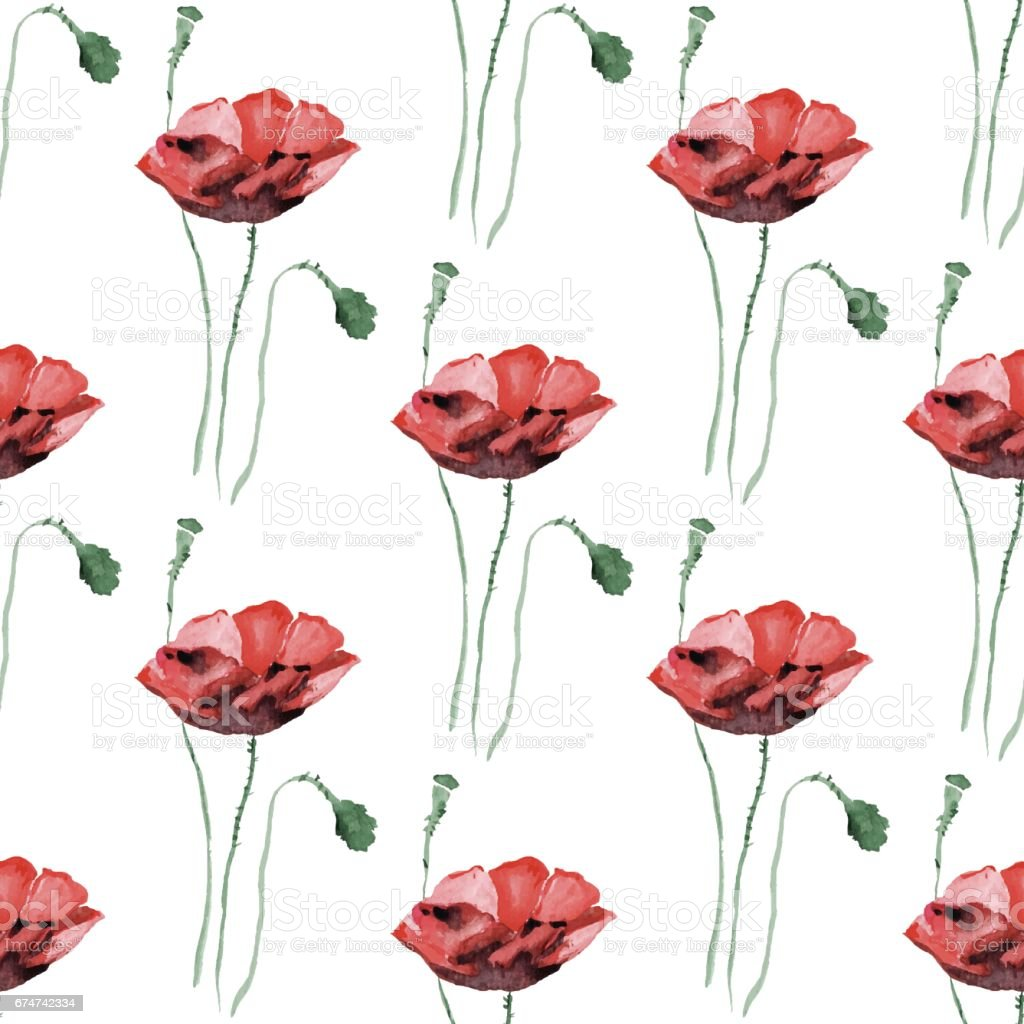 Seamless background with watercolor poppies. vector art illustration