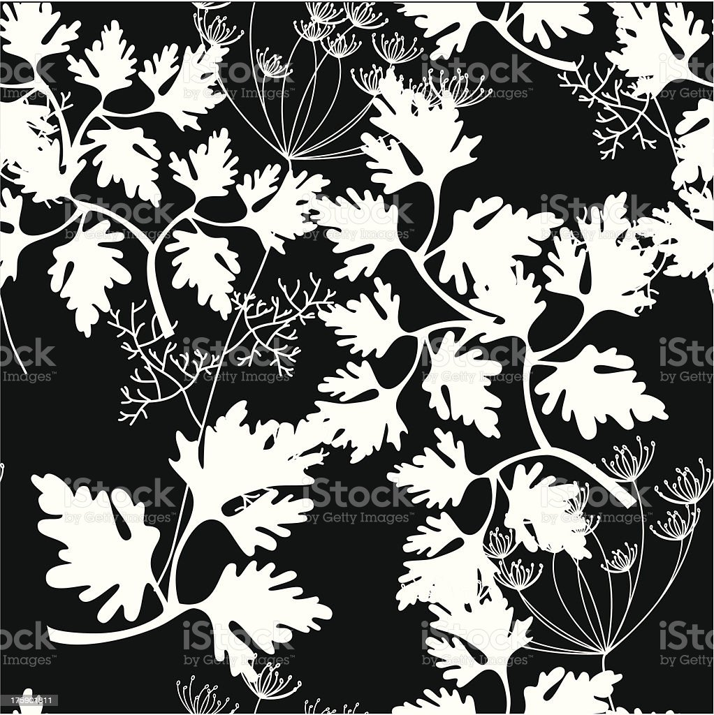 Seamless background with white decorative herbs silhouettes vector art illustration