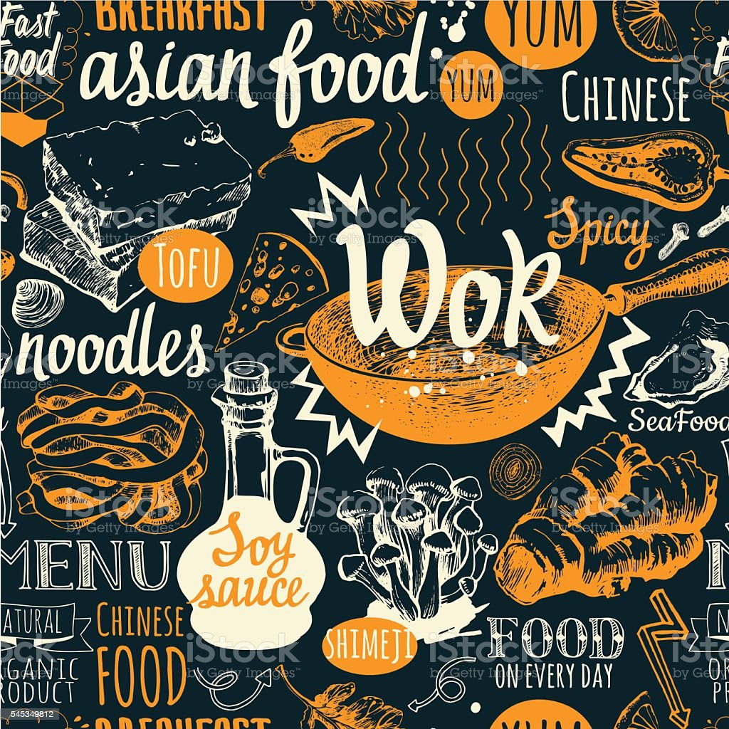 Seamless background with wok food symbols. Menu pattern. vector art illustration