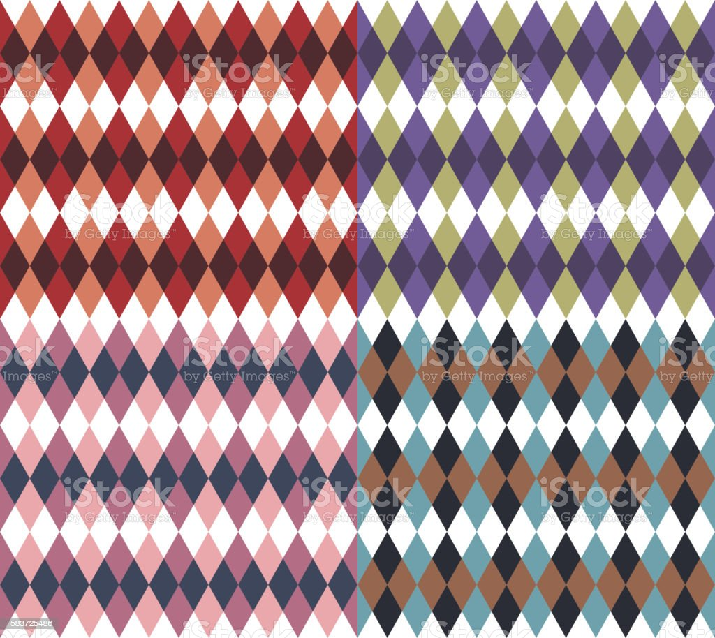 Seamless backgrounds with rhombus vector art illustration