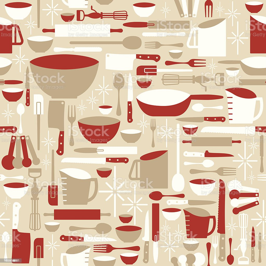 Seamless Baking and Cooking Background vector art illustration