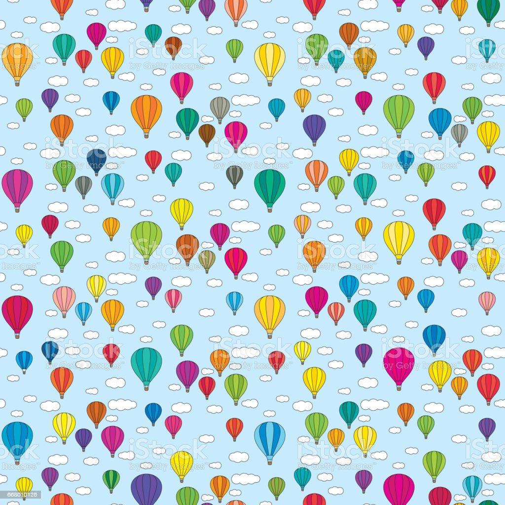 Seamless balloons pattern vector art illustration