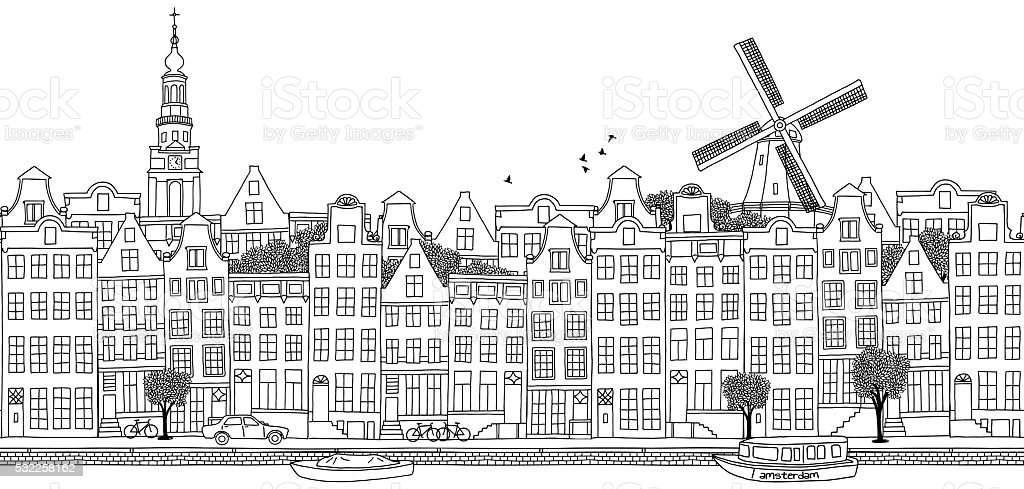 Seamless banner of Amsterdam's skyline vector art illustration