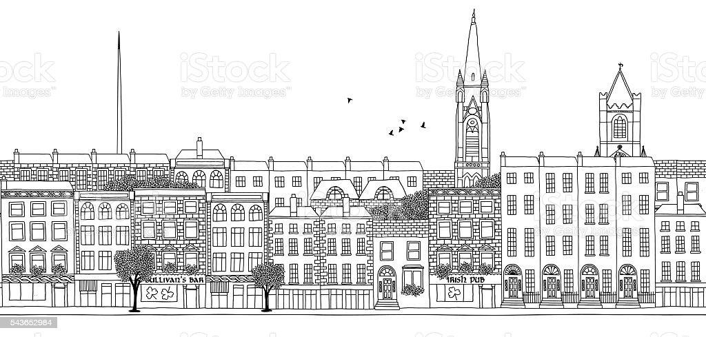 Seamless banner of Dublin's skyline vector art illustration
