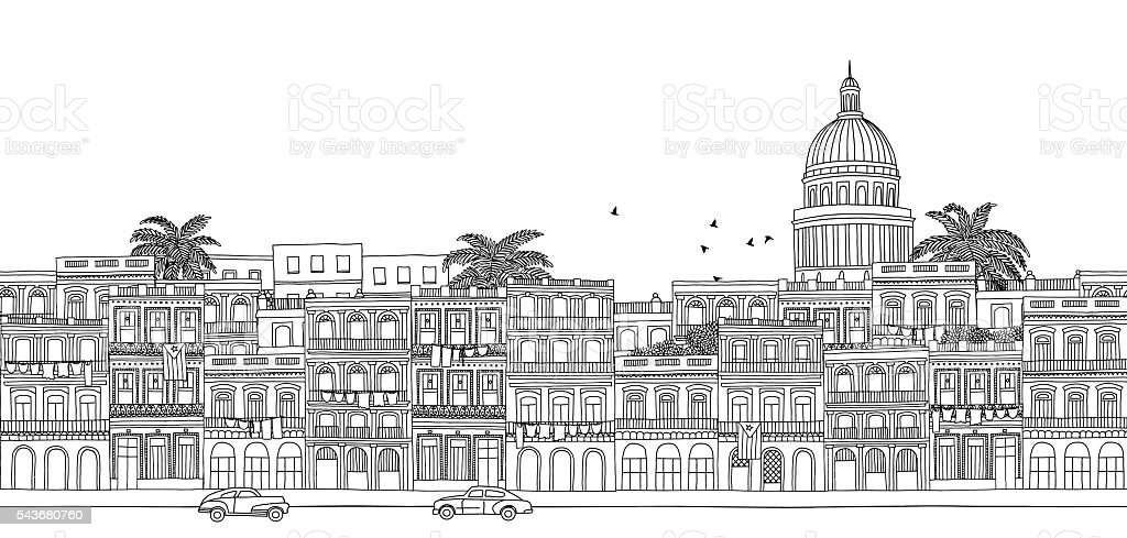 Seamless banner of Havana's skyline vector art illustration