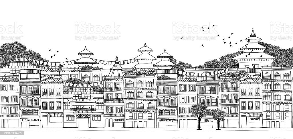 Seamless banner of Kathmandu's skyline vector art illustration