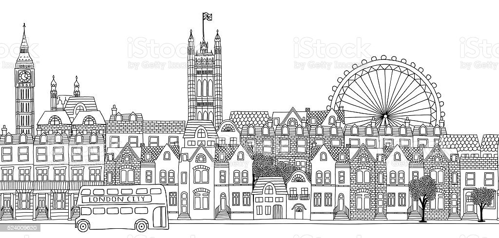 Seamless banner of London's skyline vector art illustration