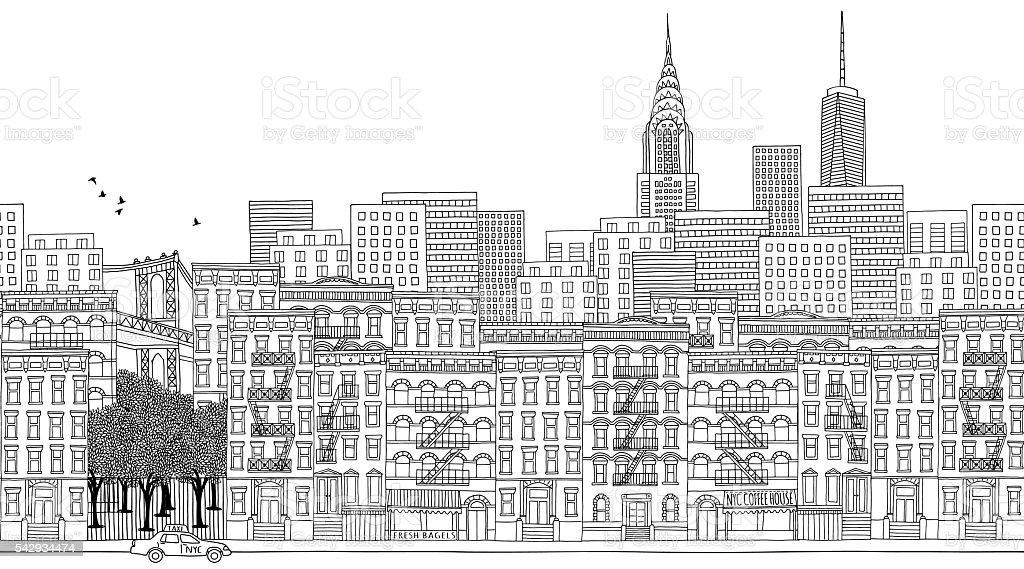 Seamless banner of New York city, hand drawn vector art illustration