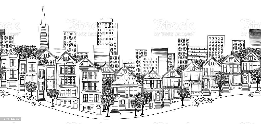 Seamless banner of San Francisco vector art illustration