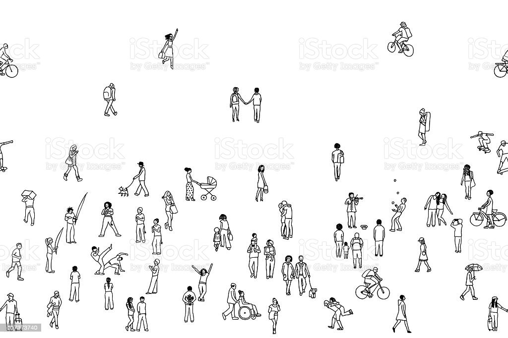 Seamless banner of tiny people, can be tiled horizontally vector art illustration