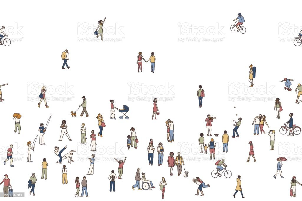 Seamless banner of tiny people, white background vector art illustration
