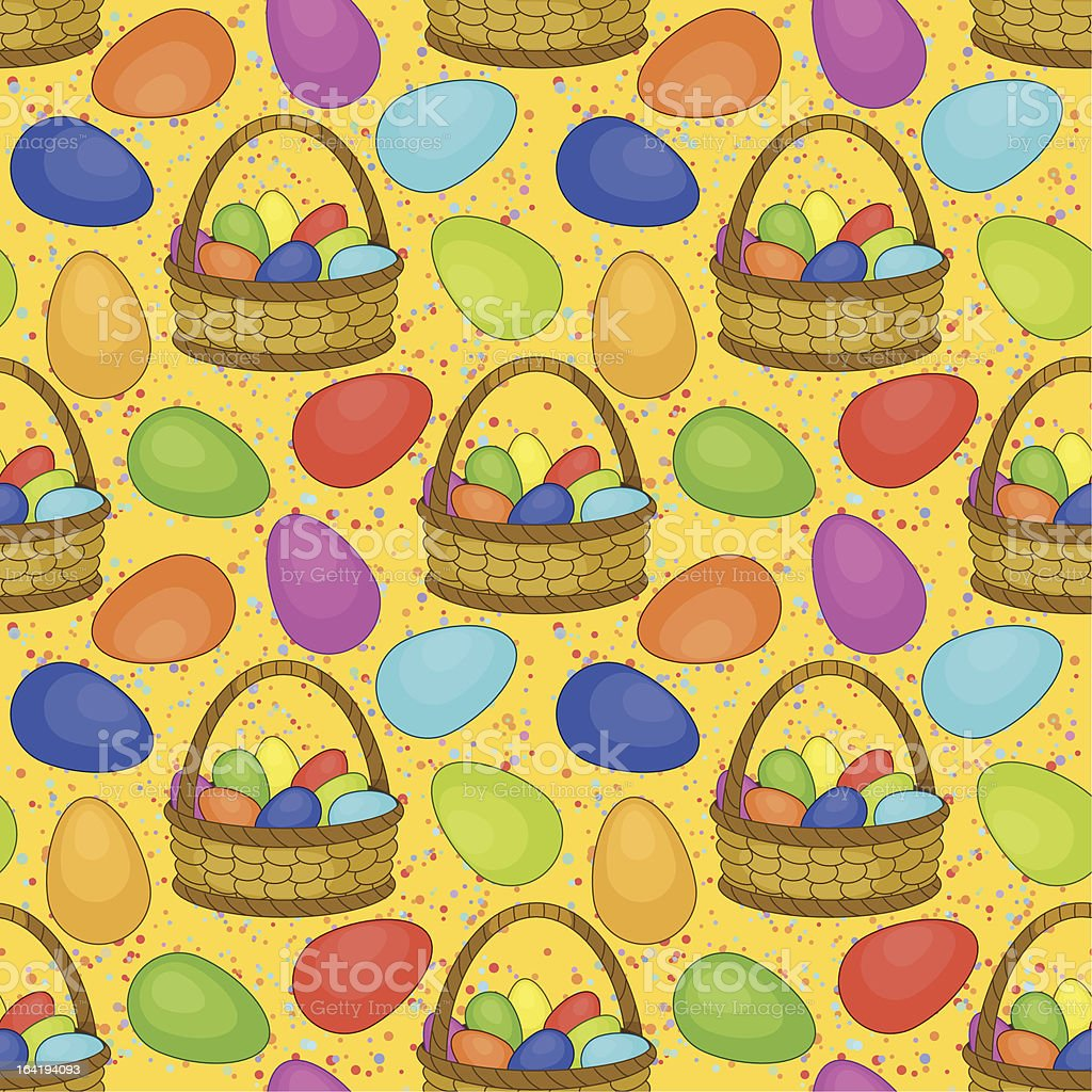 Seamless, basket with Easter eggs royalty-free stock vector art