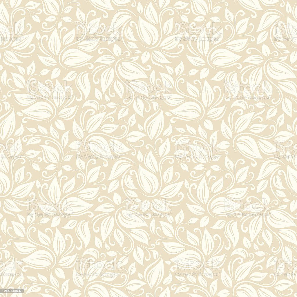 Seamless beige floral pattern. Vector illustration. vector art illustration