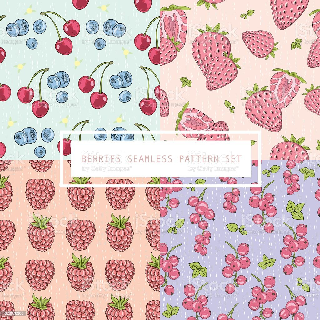 Seamless berries pattern set. vector art illustration