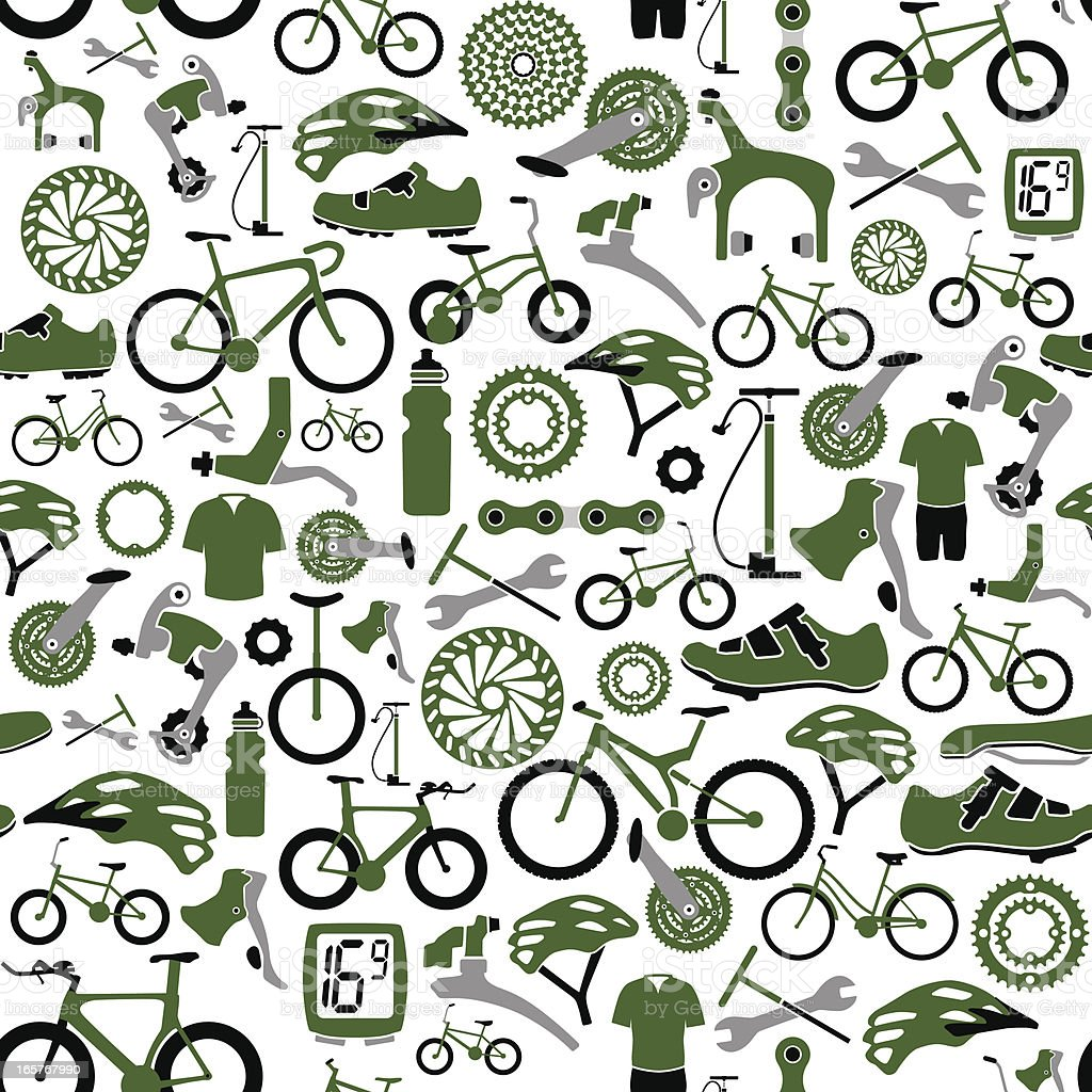 Seamless Bikes and Bike Parts Pattern royalty-free stock vector art