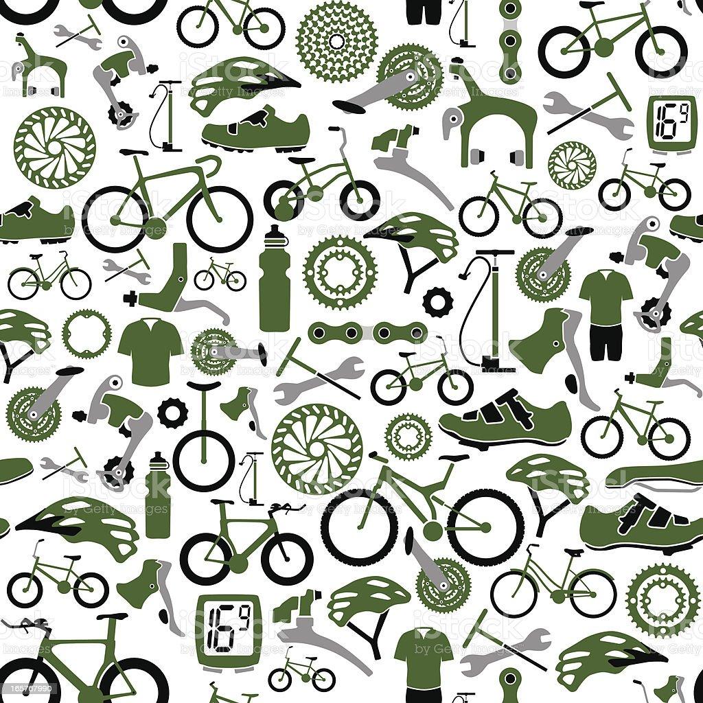 Seamless Bikes and Bike Parts Pattern vector art illustration