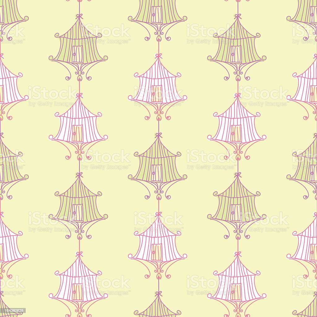 Seamless Birdcages Pattern vector art illustration