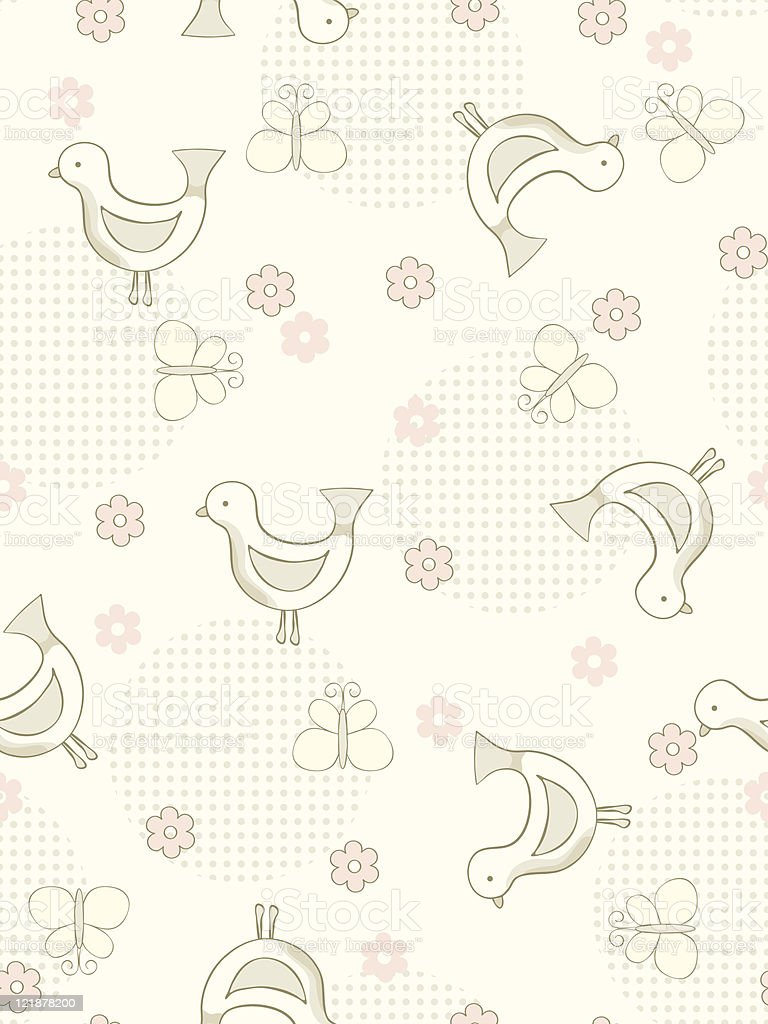Seamless birds and butterflies background. royalty-free stock vector art