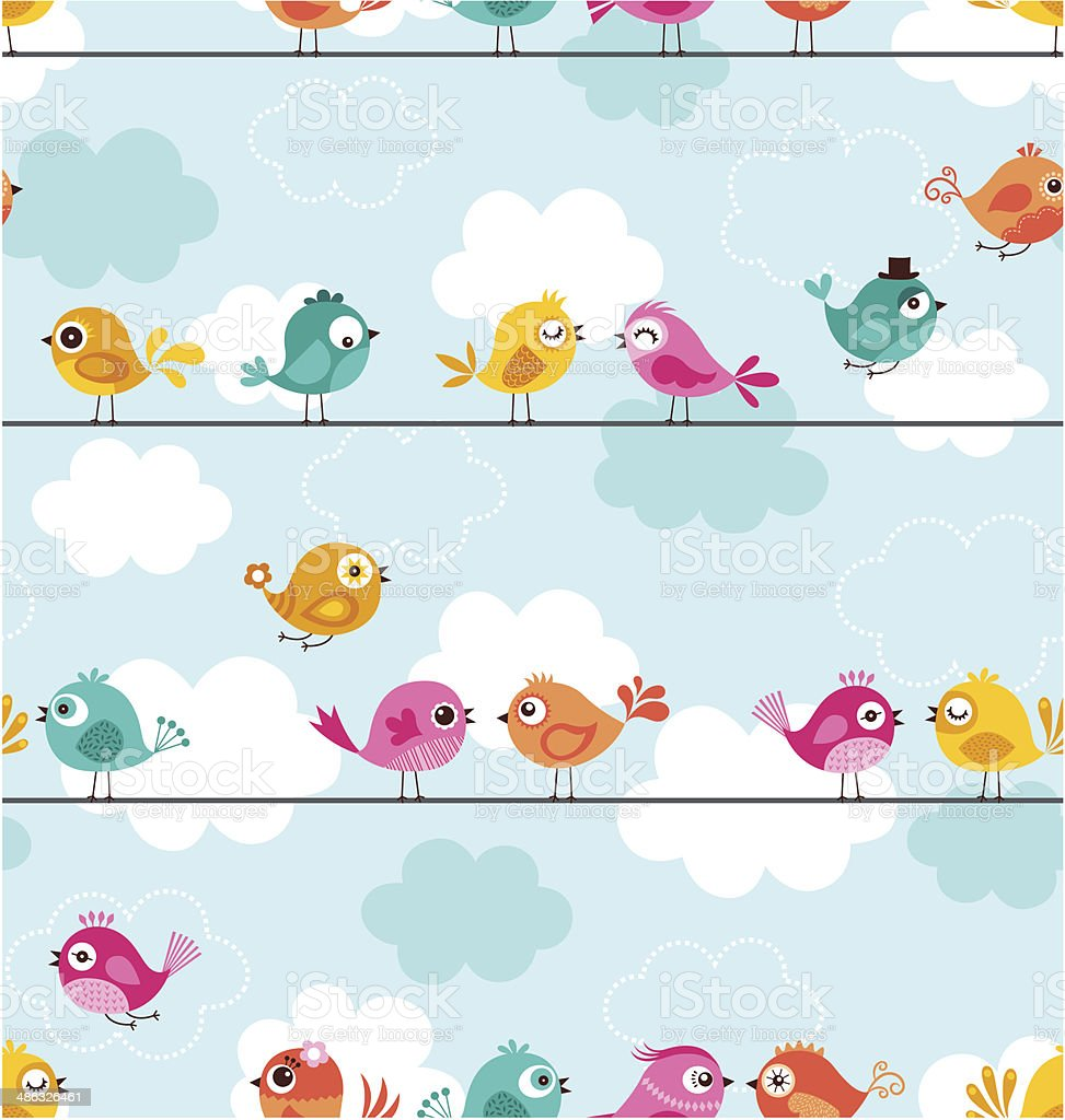 seamless birds pattern vector art illustration