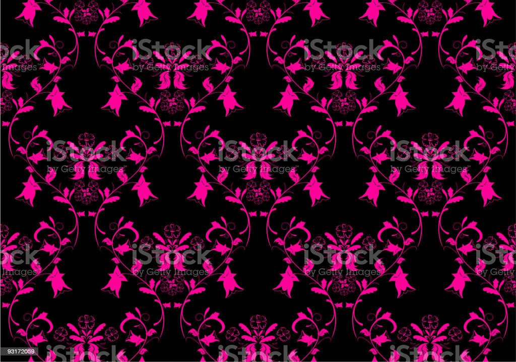 Seamless black and pink floral design royalty-free stock vector art