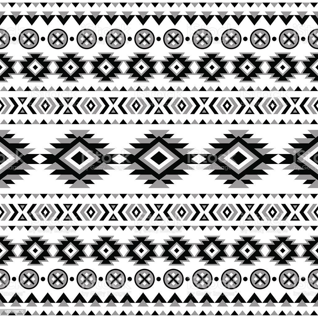 Seamless black and white Aztec pattern vector art illustration