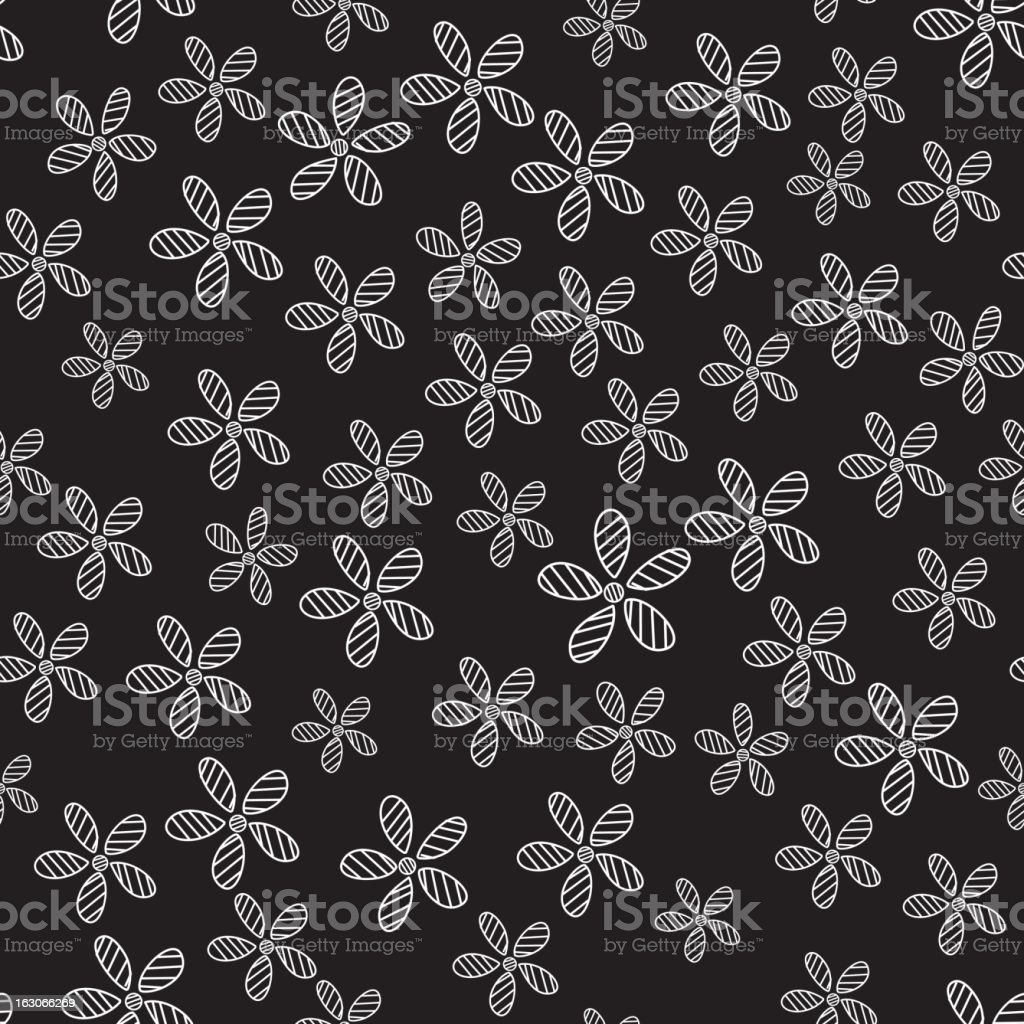 Seamless Black and White Daisy Pattern royalty-free stock vector art