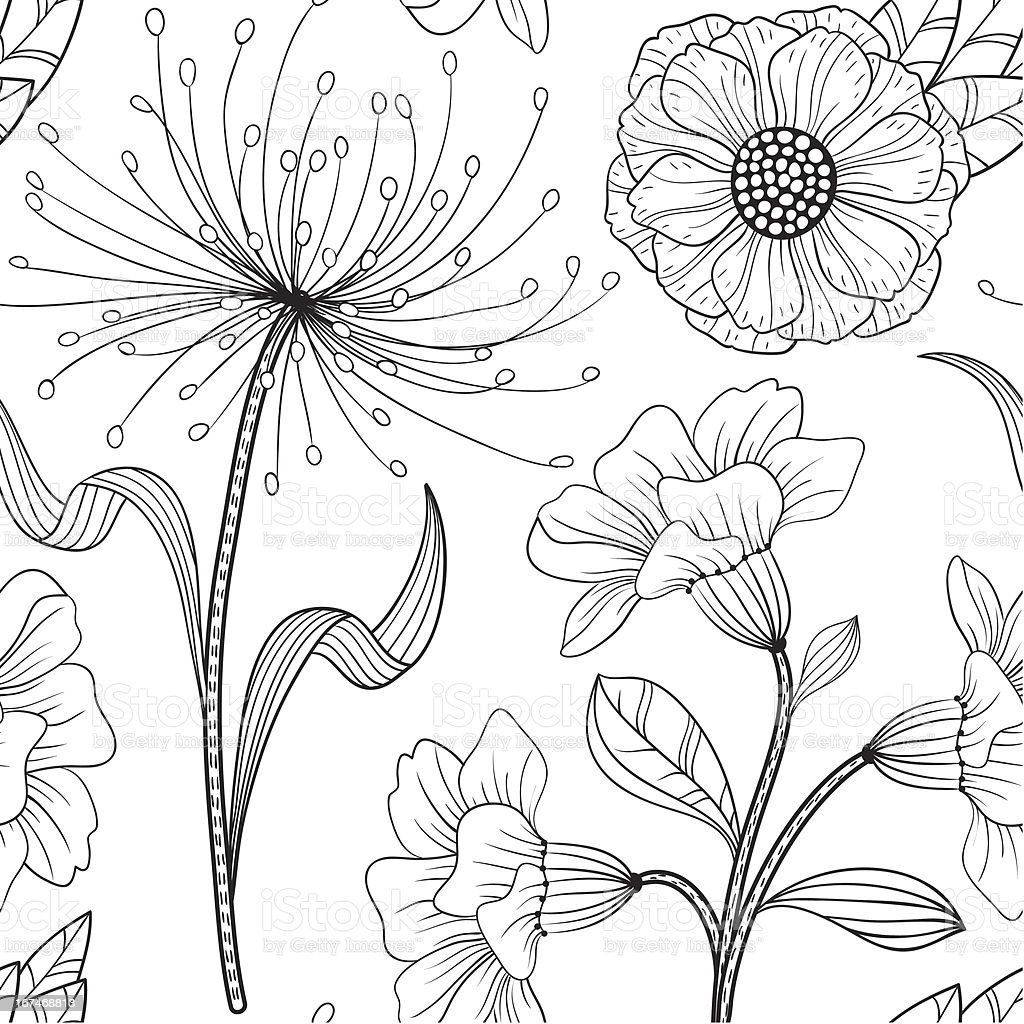 Seamless black and white floral pattern royalty-free stock vector art