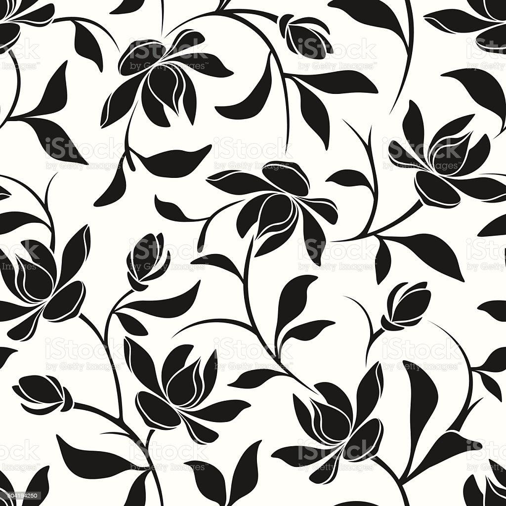 Seamless black and white floral pattern. Vector illustration. vector art illustration