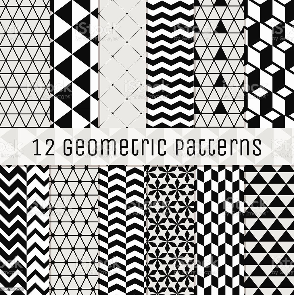 Seamless Black and White Geometric Background Set. vector art illustration