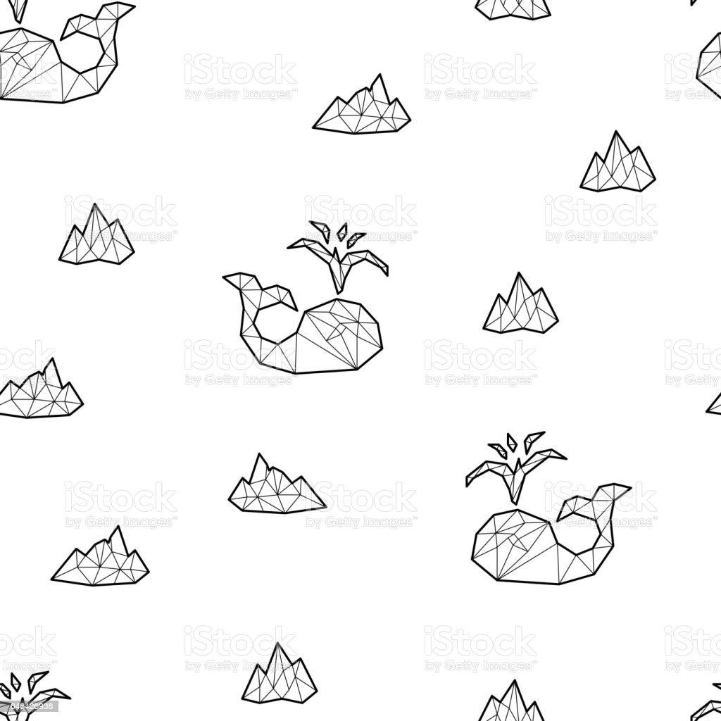 Seamless black and white kids tribal vector pattern with whales and ice floes vector art illustration