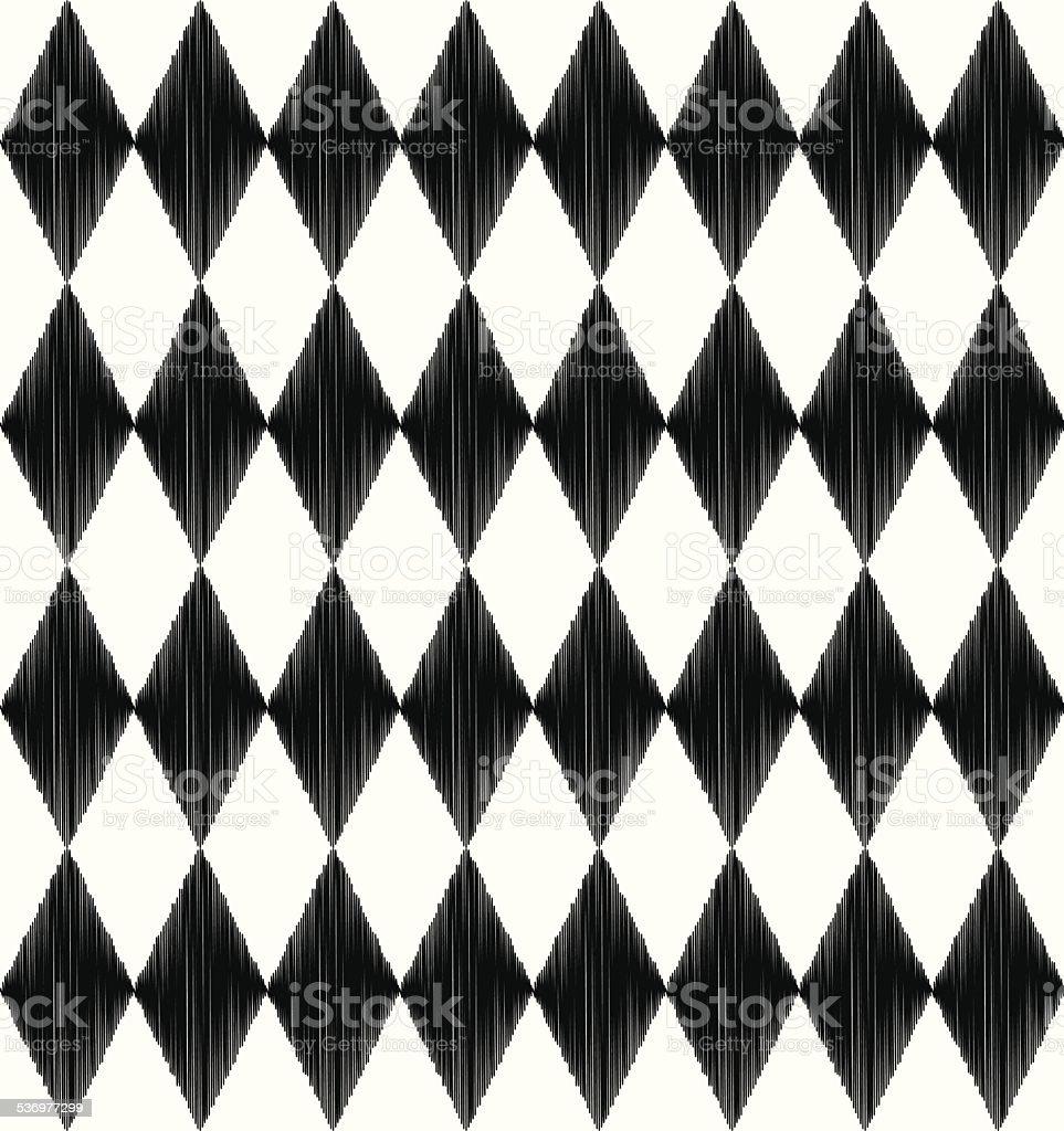 seamless black and white rhombus pattern vector art illustration