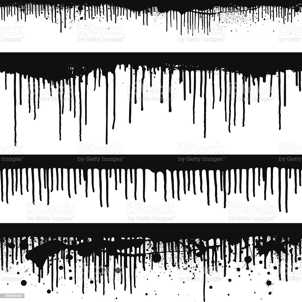 Seamless black paint drips vector art illustration