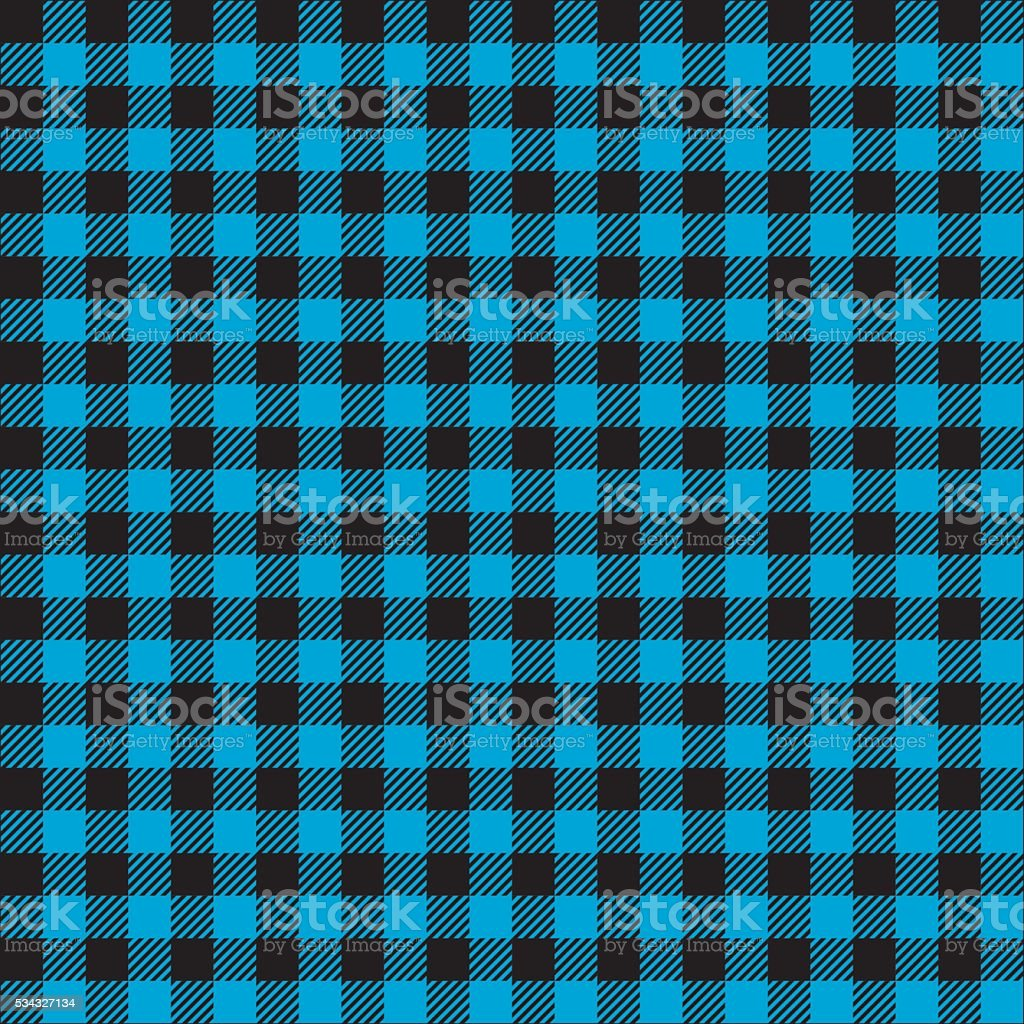 Seamless Blue and Black Checked Pattern vector art illustration