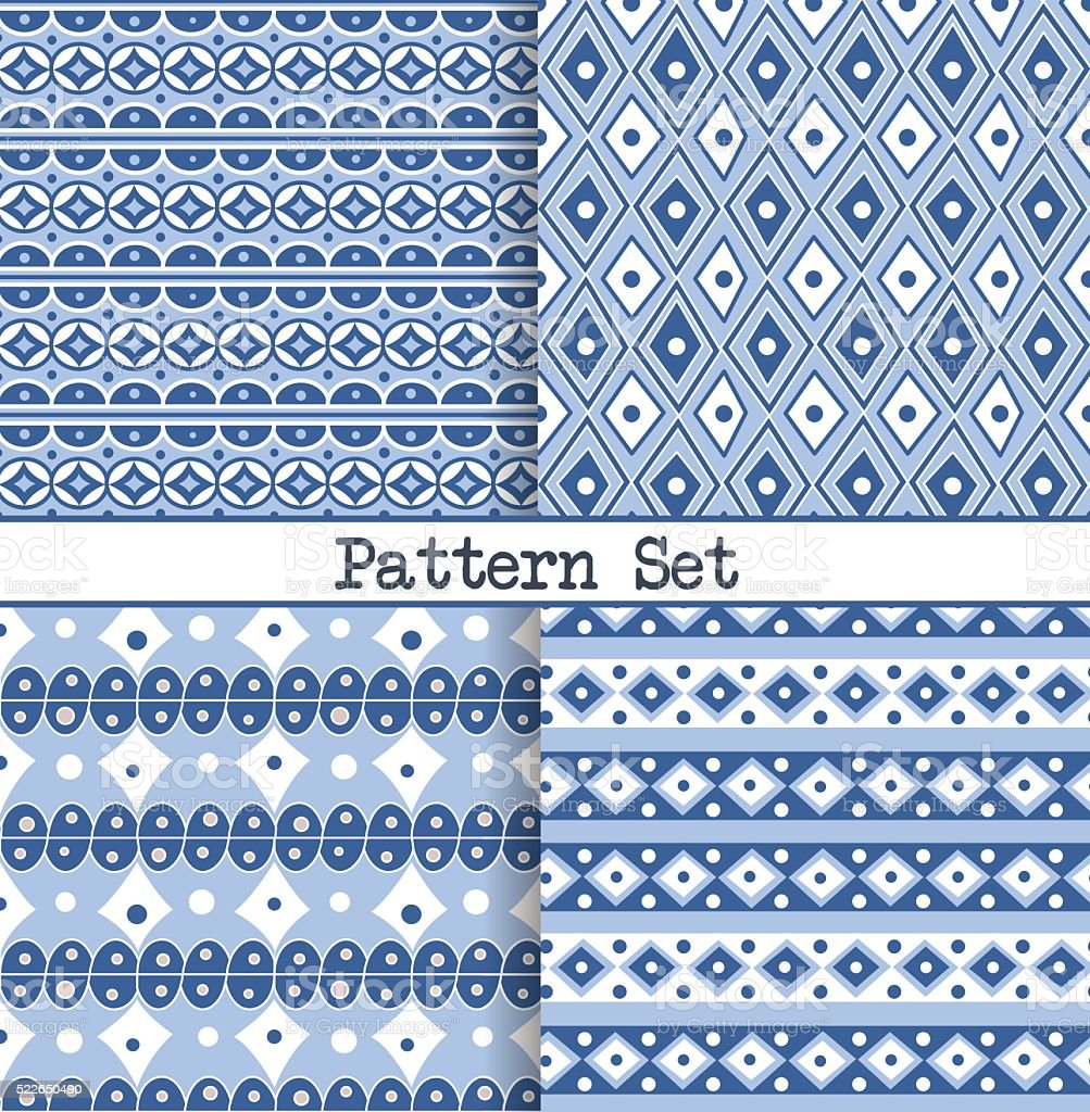 seamless blue and white oriental vintage patterns vector art illustration