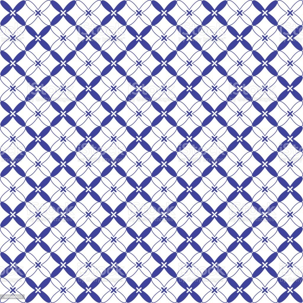Seamless blue and white vector pattern vector art illustration
