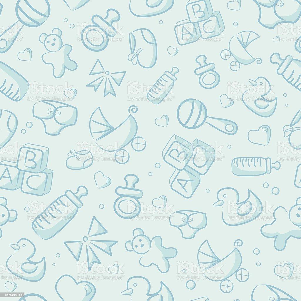 Seamless Blue Baby Background vector art illustration