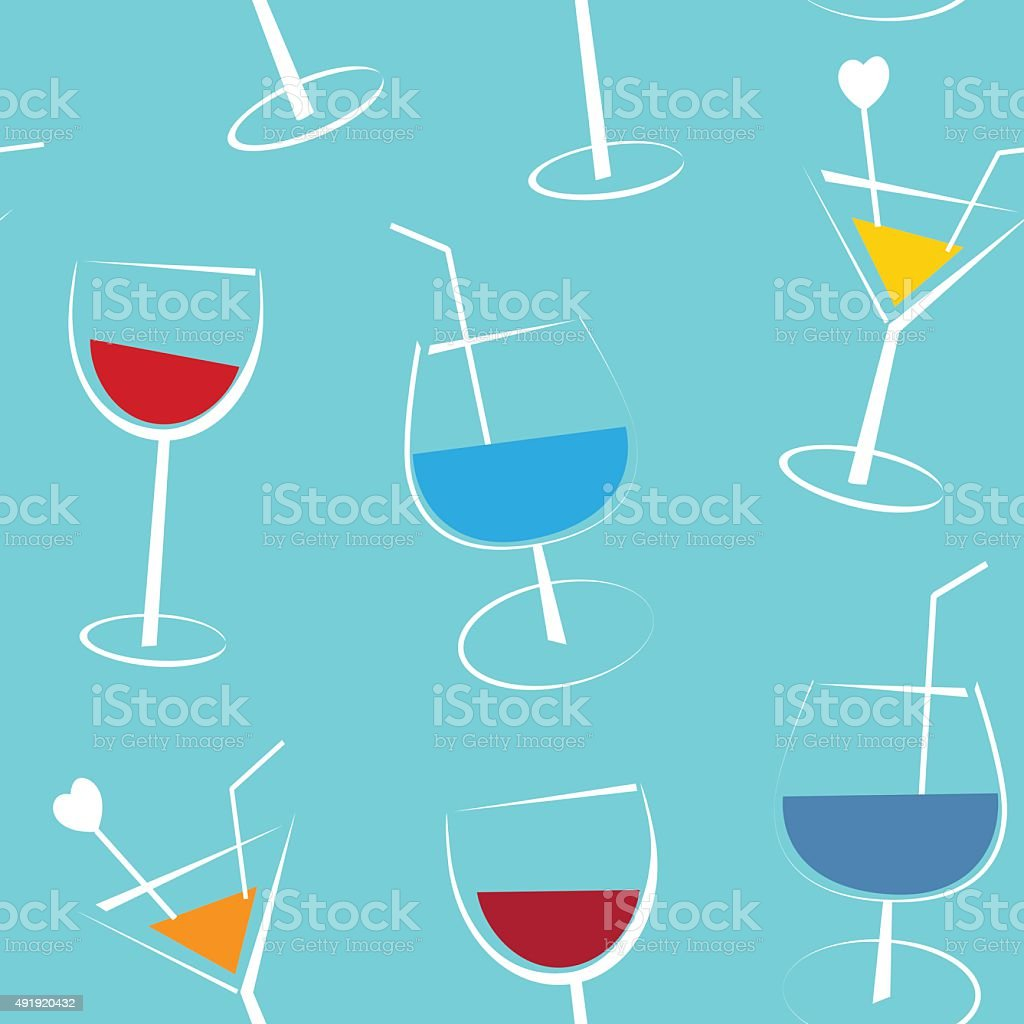 Seamless blue background with cocktails vector art illustration