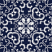 Seamless Blue Japanese Background Curve Spiral Vine Cross Flower