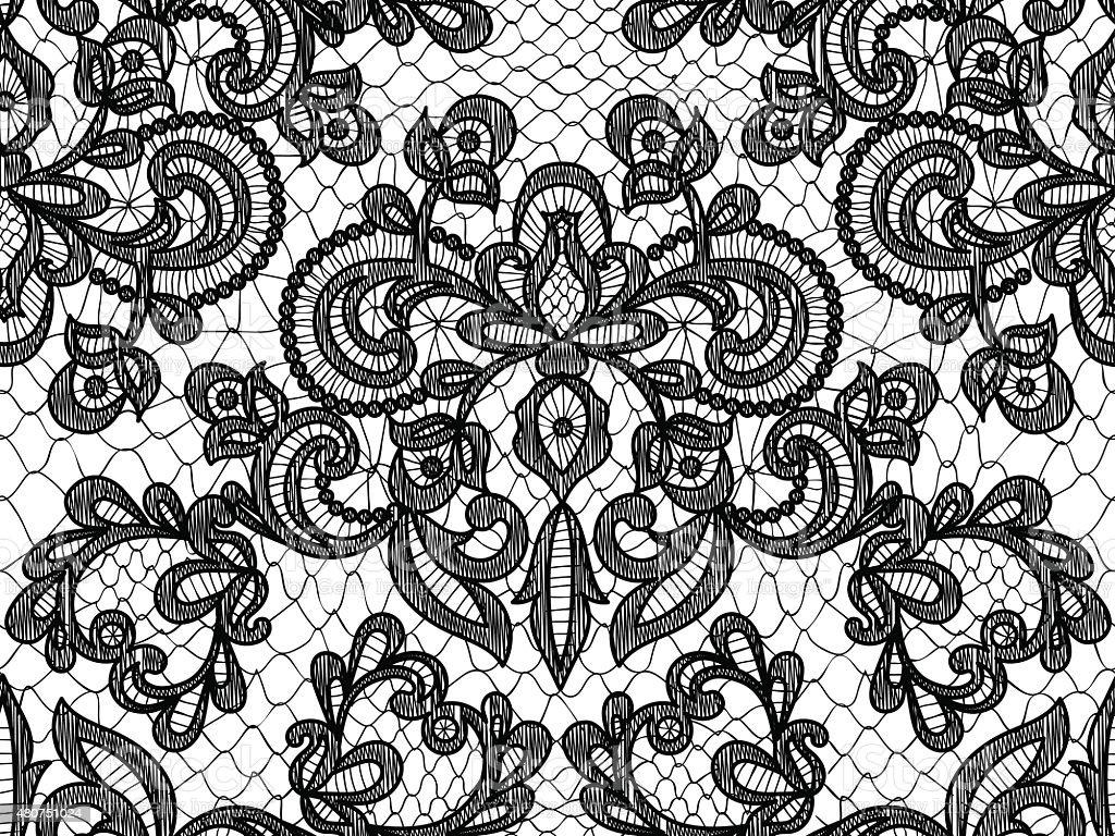 Seamless blue lace vector art illustration